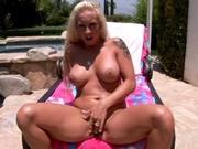 Busty blonde wife rides a dick through her ass