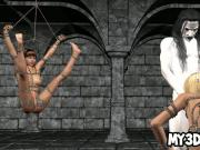 Tied up 3D cartoon blonde babe fucked by a vampire