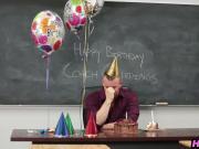Schoolgirl teen fucking her teacher on his birthday