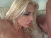 Hot blonde chick banging her first huge cock