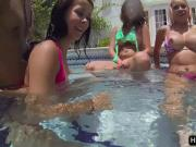 Teens orgy fucking at pool party