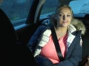 Amateur wanks with huge tits in taxi