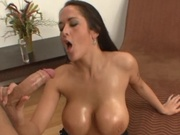 Hottie with big oily tits and ass gets fucked