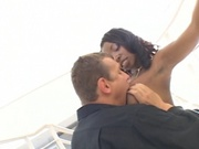 Big breasted black girl banging white dude