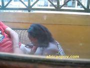 Rwandan cutie leslie sucks dick on a sunny balcony