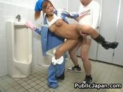 Beautiful maintenance worker is in the mens toilet 17 by publicjapan