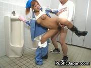 Beautiful maintenance worker is in the mens toilet 17 by publicjapan