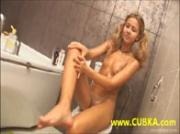 young teen blonde in the bathroom