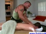 Masseur explores bicurious boys asshole