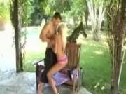 Platinum blondie backyard bikini quickie