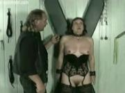Mature slave hits on her pussy and pulled on her nipples bdsm