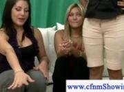 Cfnm girls plays with naked guys cock