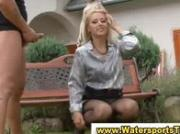 Pissing clothed golden shower couple