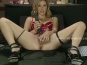 Cute blonde slut putting up a real show in front of the live webc