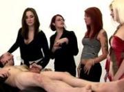 Bondage guy cfnm group handjob