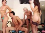 Nasty group of hotties use femdom