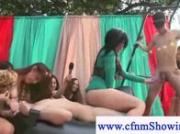 Public pussy licking on cfnm show