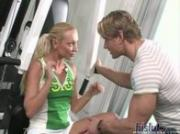 Hot French blonde Nomi gets it on in the weight room