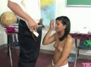 Girl drilled vigorously
