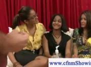 Cfnm girls and a high speed jerk off session