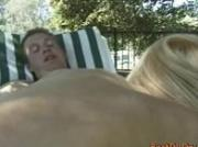 Blonde gets anal drilling at outdoor