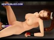 3D animated girl gets vibrating her pussy
