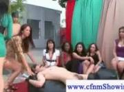 Cfnm girls on a show testing toys and men