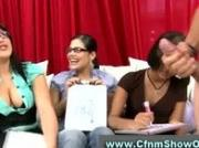 Amateur babes enjoy checking out CFNM guys cock