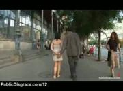 Bound babe made to walk bare on the streets