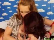 Glamorous lesbian threeway masturbation