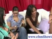 Cfnm girls watching masturbating dude gives him a hand