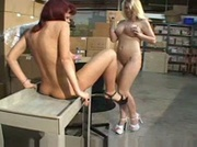 Lesbian sex in Warehouse