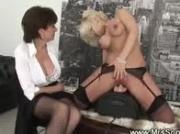 Horny blond rides on saddle vibrator