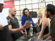 Rough Blonde Flashes Tits In Tattoo Parlour