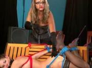 Domina punishes her pathetic slaves
