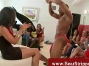 CFNM girls wild for dancing bear stripper