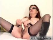 Stunning round tits mom dildo fucked in bed 1 by RealBustyGF