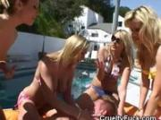 Women In Bikinis Share Cock At Pool Party Reverse Gangbang