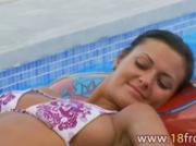 Babe from europe masturbating in pool