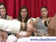 Cfnm girls puts a jerking device on small dick