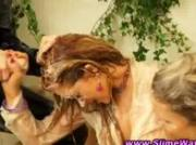 Strapon wearing bukkake lesbians