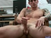 Amazing muscled and tattoed hunk jerking his jizzster 3 by gotexb