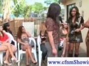 Cfnm babes plays with naked men cock