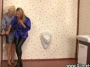 Classy ladies get facial from gloryhole strpon