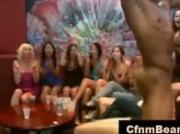 Wild girls suck black CFNM strippers cock at CFNM party