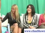 Naughty cfnm milfs shaving and snipping hairy cock area