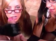 Classy spex sluts enjoy a golden shower