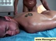 Gay masseur lays his warm hands on dick