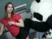 Cute teen girl seducing toy panda