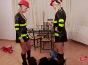 Sexy femdom fire fighters use dildos